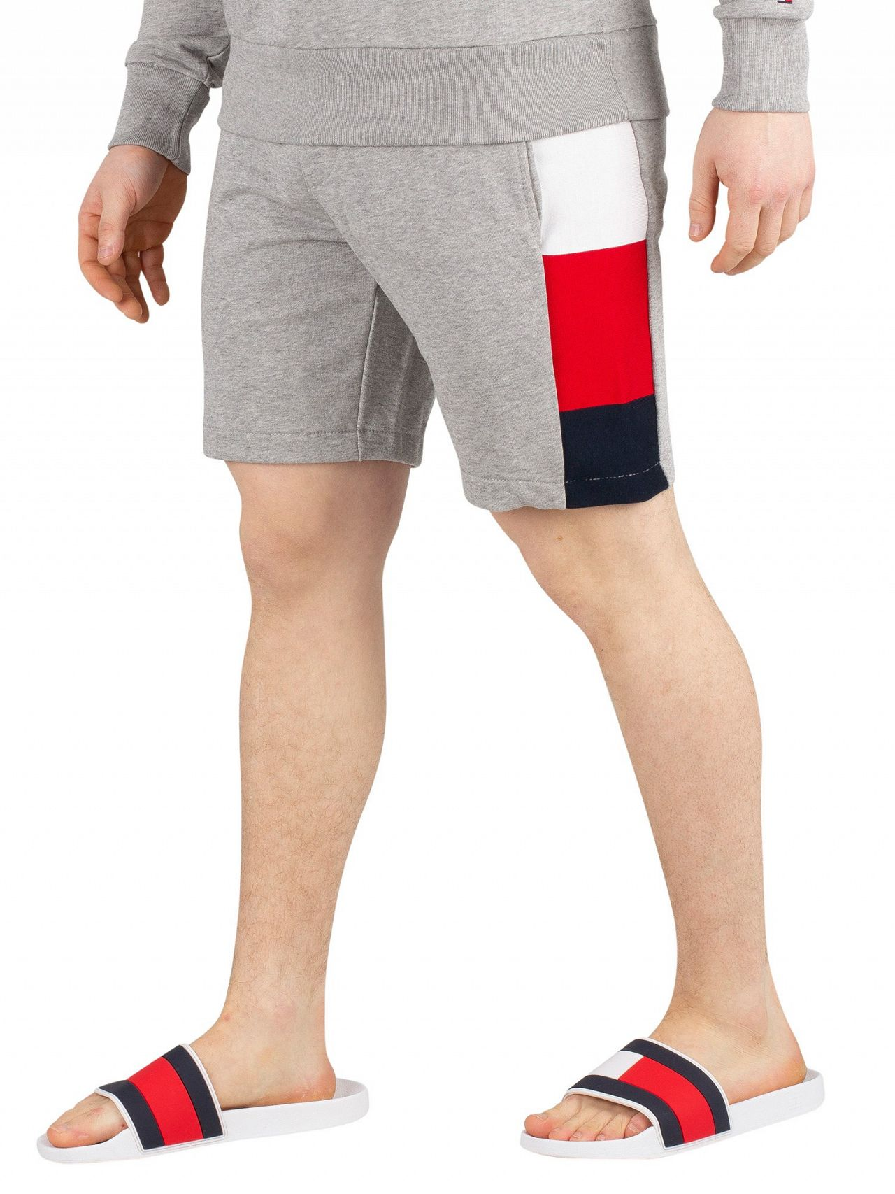 4fef9003b26 Tommy Hilfiger Cloud Heather Flag Rib Insert Sweat Shorts. Tap to expand