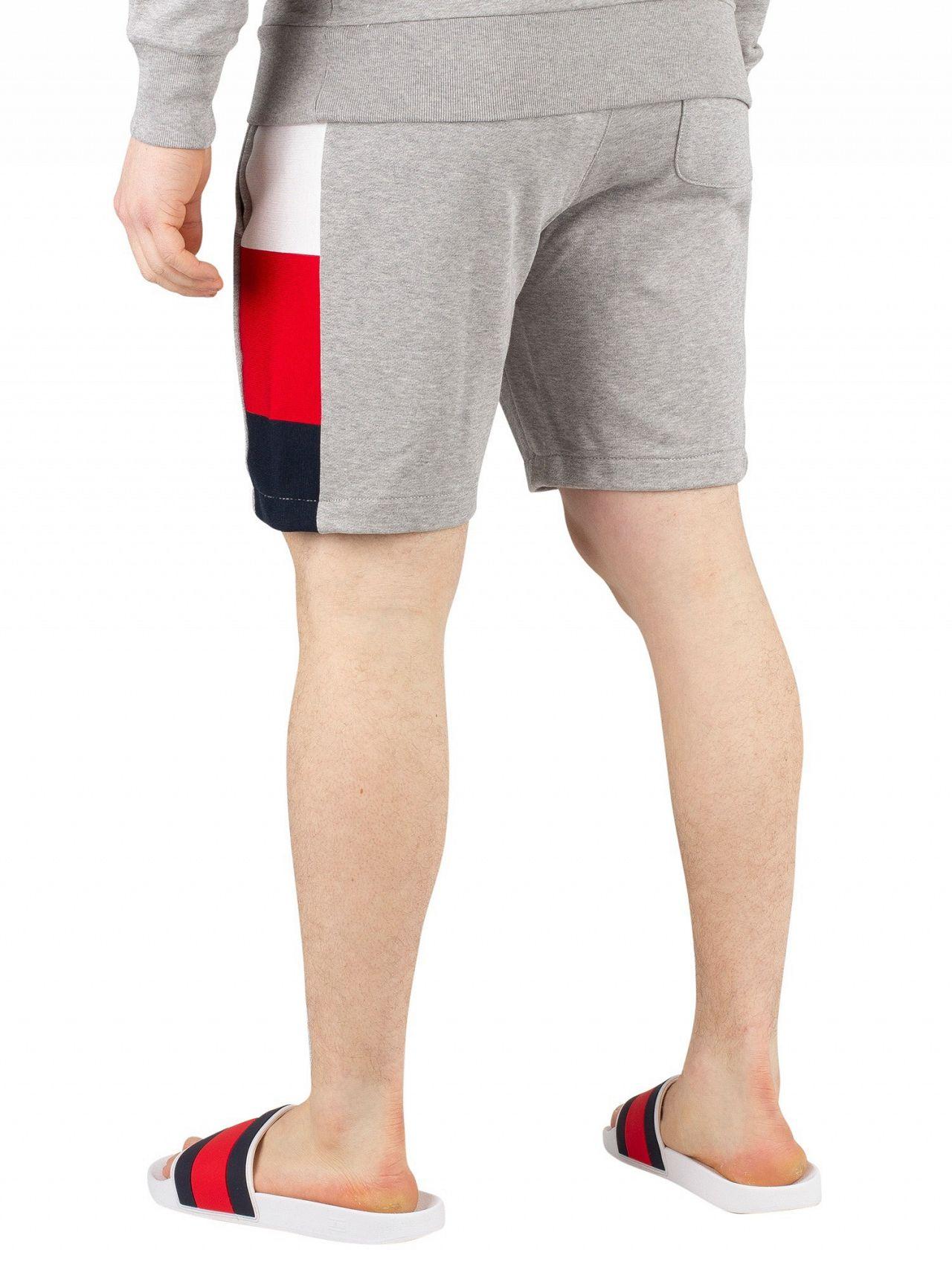 c00b4f423d9 Tommy Hilfiger Cloud Heather Flag Rib Insert Sweat Shorts