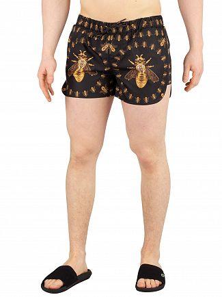 Hermano Black Bee Printed Beach Swim Shorts