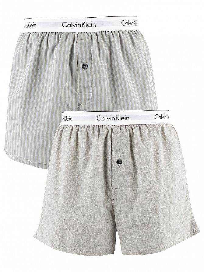 Calvin Klein Trad Stripe Wisdom/Grey Heather 2 Pack Woven Trunks