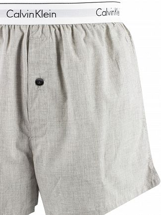 Calvin Klein Trad Stripe Wisdom/Grey Heather 2 Pack Woven Trunks