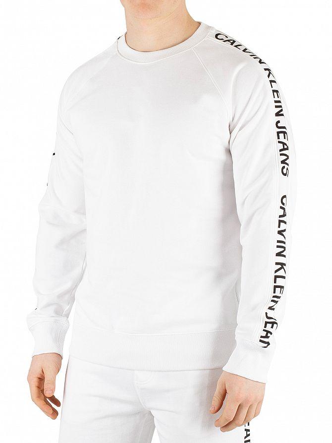 Calvin Klein Jeans Bright White/Black Side Stripe Sweatshirt