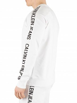 Calvin Klein Jeans Bright White/Black Side Stripe Sweatshirt