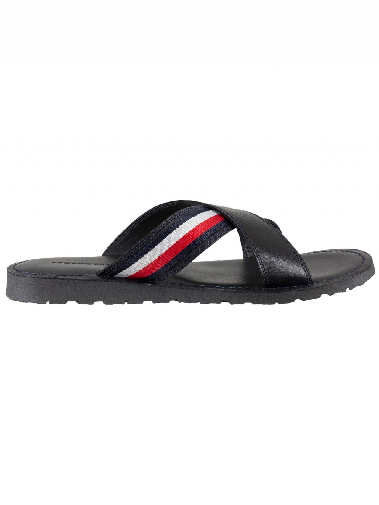 18bae10388730 Tommy Hilfiger Midnight Criss Cross Leather Sandals | Standout
