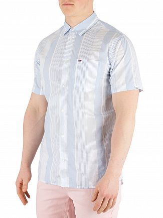 Tommy Jeans Light Blue/Classic White Striped Poplin Short Sleeved Shirt