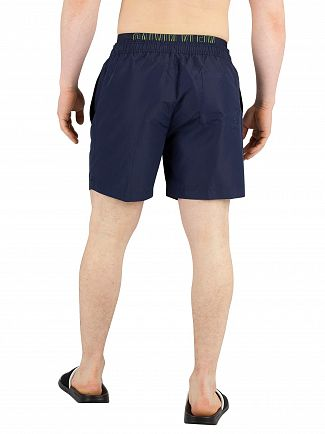 Calvin Klein Blue Shadow Medium Double Waistband Swim Shorts