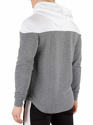 11 Degrees Charcoal Marl Vortex Block Pullover Hoodie