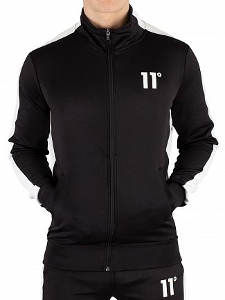 11 Degrees Black/White Zip Poly Panel Track Jacket