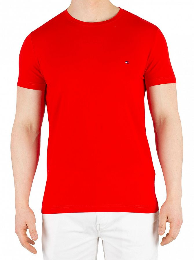 Tommy Hilfiger Fiery Red Stretch Slim Fit T-Shirt