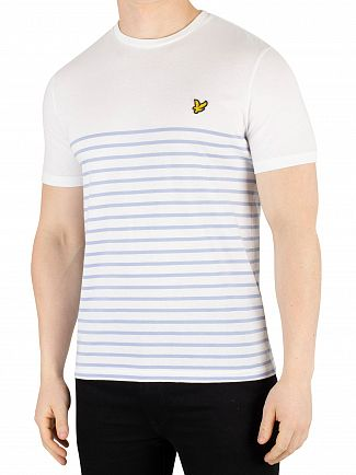 Lyle & Scott White/Blue Smoke Breton Stripe T-Shirt