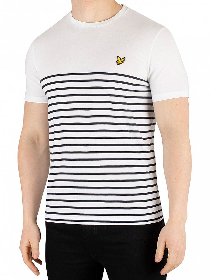 Lyle & Scott White/Navy Breton Stripe T-Shirt