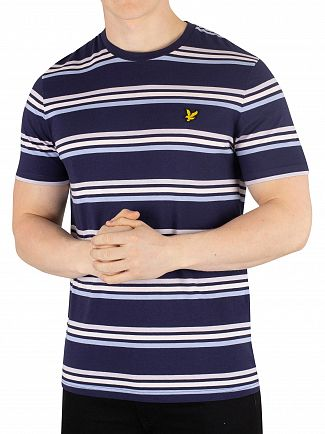 Lyle & Scott Navy Multi Stripe T-Shirt