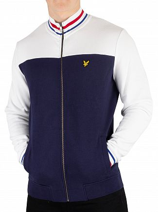 Lyle & Scott Navy Tipped Funnel Neck Track Jacket