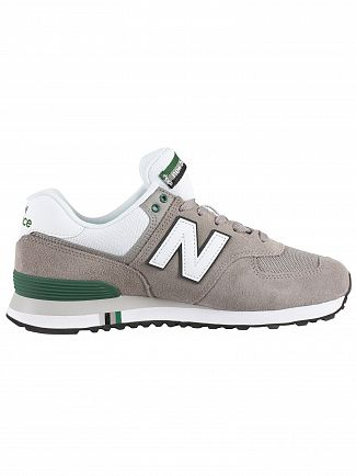 New Balance Grey/White 574 Suede Trainers