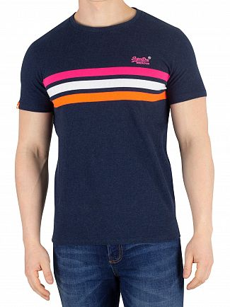 Superdry Big Sur Navy Marl Orange Label Fluro Chestband T-Shirt