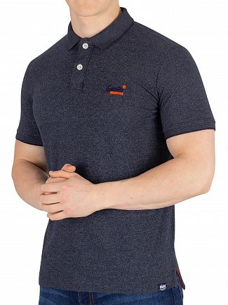 Superdry Navy Grit Feeder Orange Label Jersey Polo Shirt