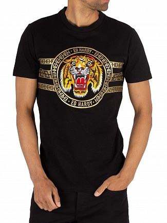 Ed Hardy Black Tiger Stripe T-Shirt