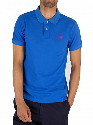 Gant Lake Blue Contrast Collar Pique Rugger Poloshirt