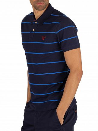 Gant Evening Blue Contrast Stripe Pique Rugger Poloshirt