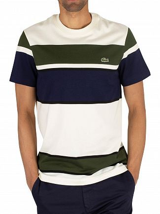 Lacoste White/Green/Navy Striped Logo T-Shirt