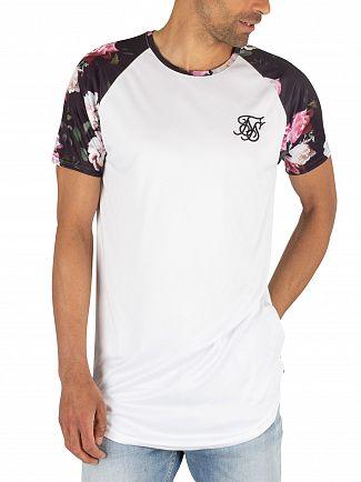 Sik Silk White Curved Hem Raglan T-Shirt