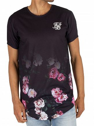 Sik Silk Black Oil Paint Fade Curved Hem T-Shirt