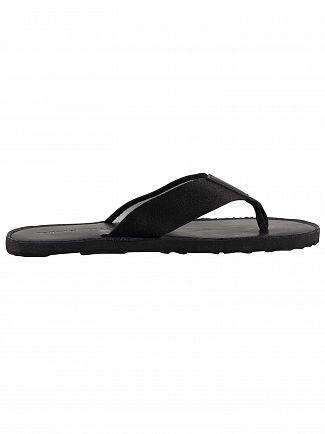 Tommy Hilfiger Black Elevated Leather Beach Flip Flops