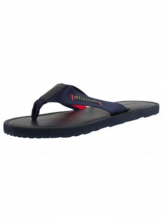 Tommy Hilfiger Midnight Elevated Leather Beah Flip Flops