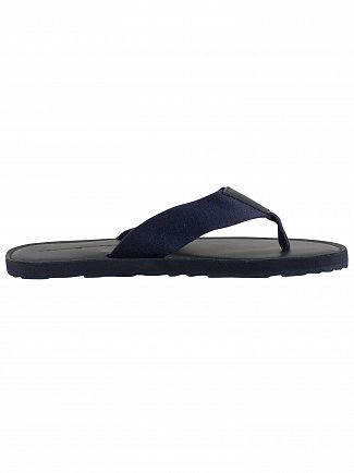 Tommy Hilfiger Midnight Elevated Leather Beach Flip Flops