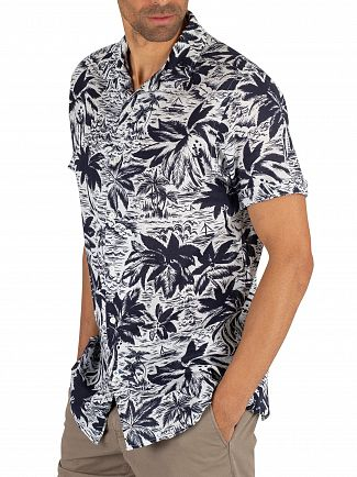 Tommy Hilfiger Eventide/Bright White Hawaiian Print Shortsleeved Shirt