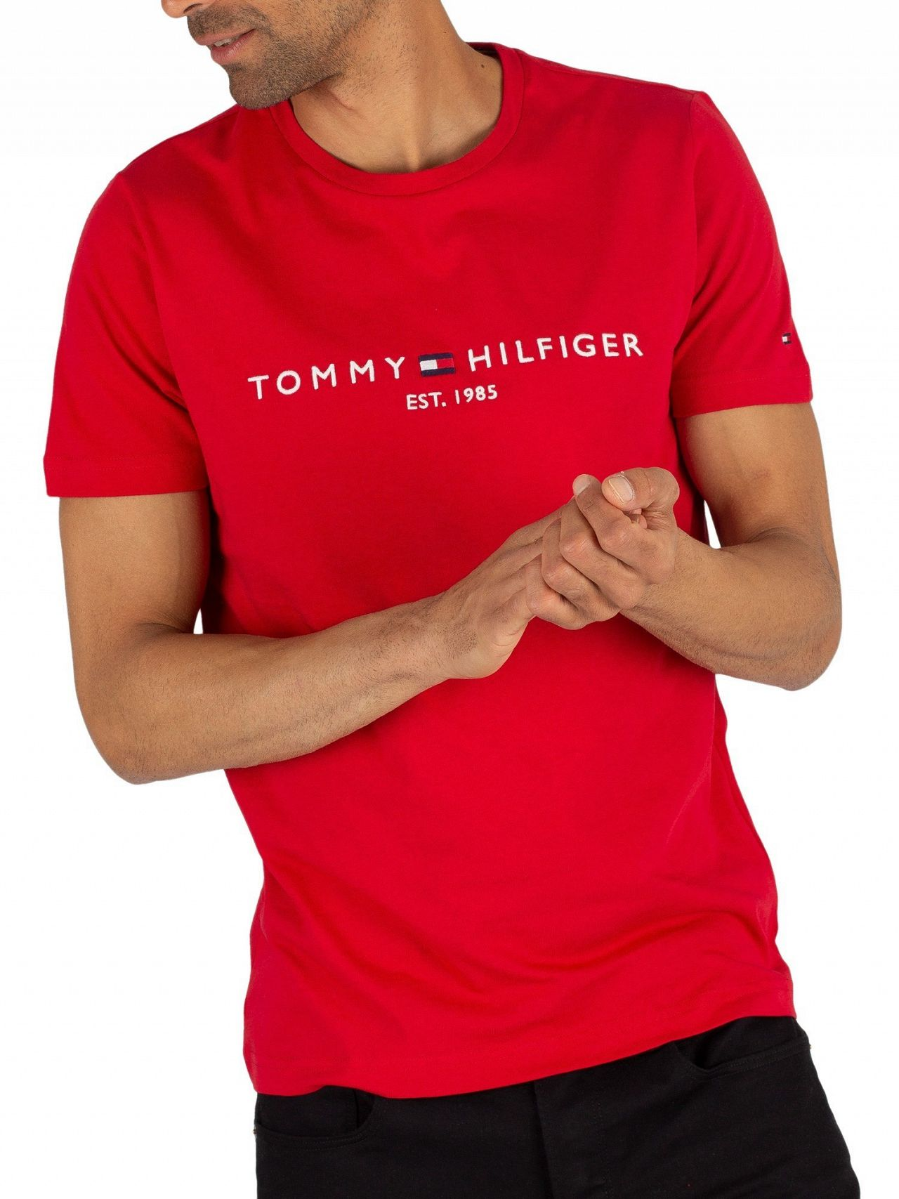 bc1339452 Tommy Hilfiger Haute Red Logo T-Shirt | Standout