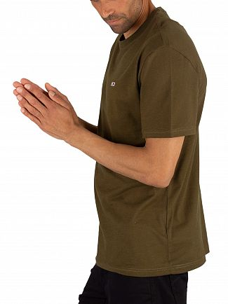 Tommy Jeans Olive Night Contrast Neck Washed T-Shirt