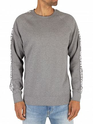 Calvin Klein Jeans Grey Heather Side Stripe Sweatshirt