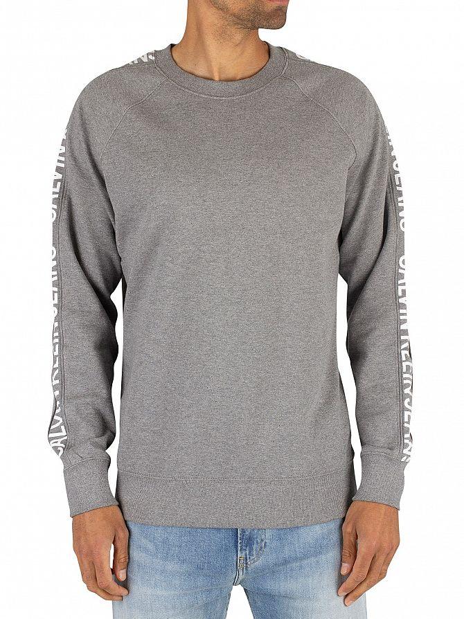 Calvin Klein Jeans Grey Heather Side Stripe Sweatshirt