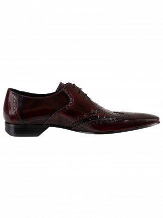 Jeffery West Burgundy Leather Derby Shoes