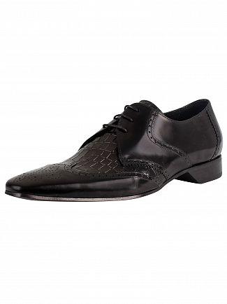 Jeffery West Black Leather Derby Shoes