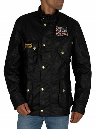 Barbour International Black Union Jack Waxed Jacket