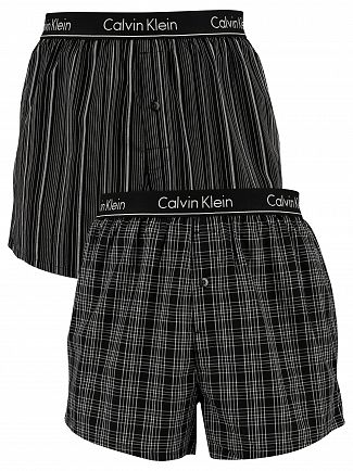 Calvin Klein Breslin Plaid Black 2 Pack Slim Fit Low Rise Woven Boxers