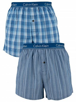 Calvin Klein Lark Plaid Atlantis 2 Pack Slim Fit Low Rise Woven Boxers