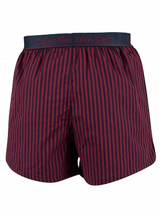 Calvin Klein Traditional Stripe Rio Red Slim Fit Woven Boxers