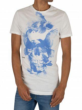 Religion White/Blue Birds Skull Curved Hem T-Shirt