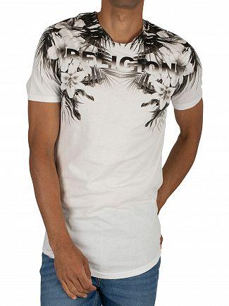 Religion White Hawaii Curved Hem T-Shirt
