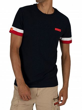 Superdry Tri Colour Navy International Engineered T-Shirt