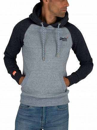 Superdry Pale Blue Heather Orange Label Raglan Pullover Hoodie
