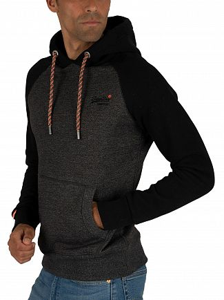Superdry Low Light Black Grit Orange Label Raglan Pullover Hoodie
