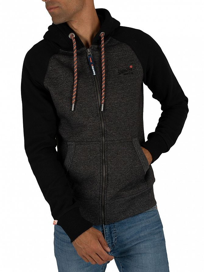 Superdry Low Light Black Grit Orange Label Raglan Zip Hoodie