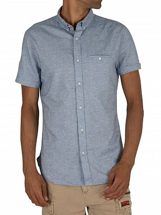 Superdry Walter Tri Chambray Premium University Jet Short Sleeve Shirt