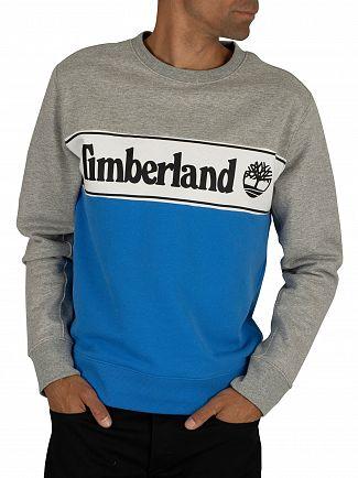 Timberland Grey/Blue Cut & Sew Logo Sweatshirt