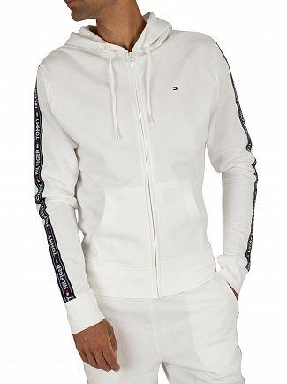 Tommy Hilfiger White Logo Zip Hoodie