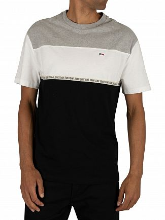 Tommy Jeans Light Grey Heather Colourblocked Tape T-Shirt
